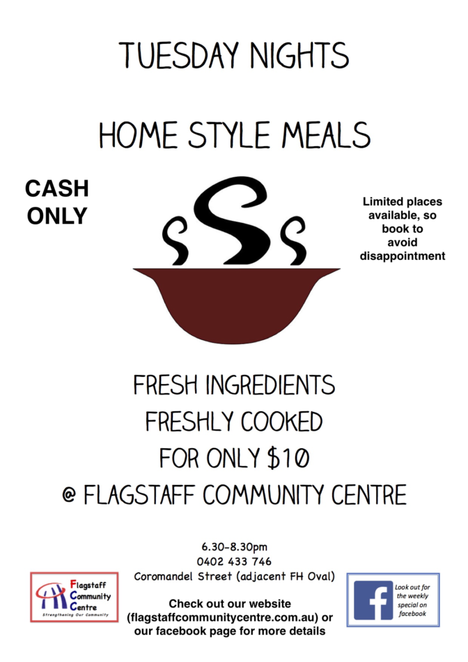 Tuesday Meals at the Centre @ Flagstaff Community Centre | Flagstaff Hill | South Australia | Australia